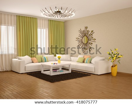 3d illustration of Interior of modern living room warm colors - stock photo