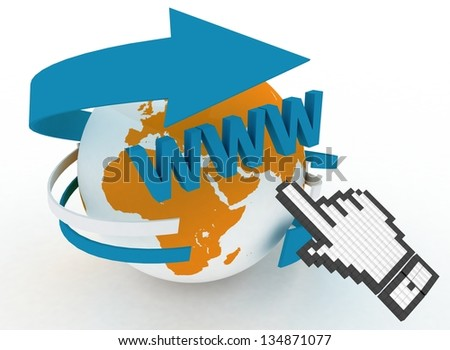 3d illustration of internet world wide web concept. Hand cursor and earth globe - stock photo