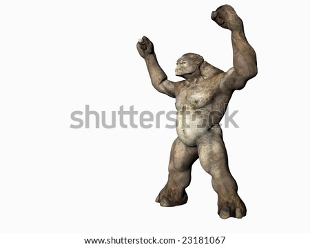3d illustration of isolated evil demon monster creature - stock photo