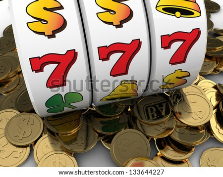3d illustration of jackpot with golden coins - stock photo
