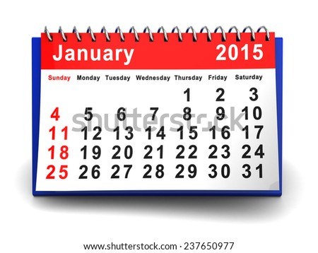 3d illustration of january 2015 calendar, over white background - stock photo