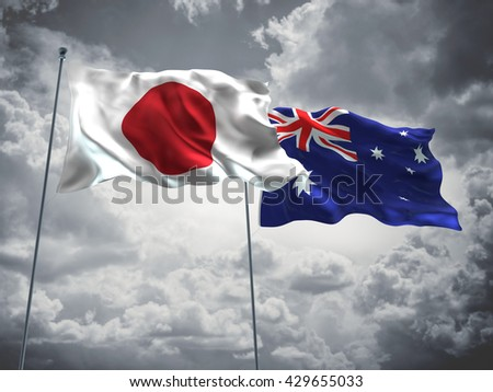 3D illustration of Japan & Australia Flags are waving in the sky with dark clouds  - stock photo