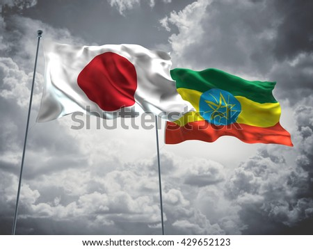 3D illustration of Japan & Ethiopia Flags are waving in the sky with dark clouds  - stock photo
