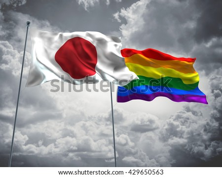 3D illustration of Japan & LGBT Community Pride Flags are waving in the sky with dark clouds  - stock photo