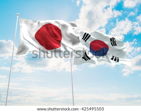 3D illustration of Japan & South Korea Flags are waving in the sky - stock photo