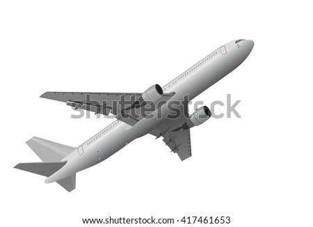 3D illustration of jet airplane that is taking off on white background - stock photo