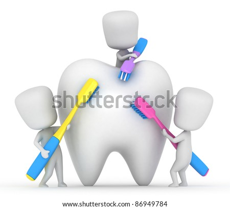 3D Illustration of Kids Brushing a Tooth - stock photo