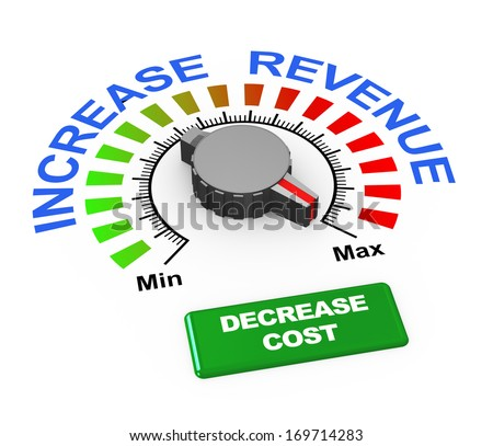 3d illustration of knob of increase revenue set at max with button to decrease cost. - stock photo