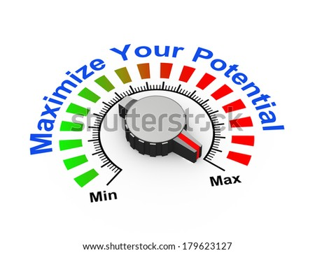 3d illustration of knob set at maximum for potential - stock photo