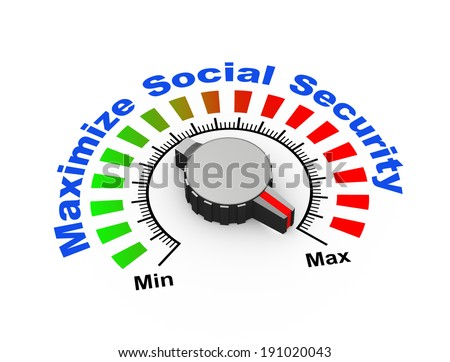 3d illustration of knob set at maximum for social security - stock photo