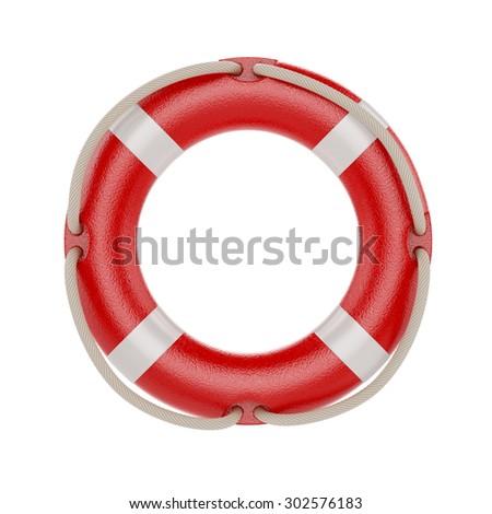 3d illustration of lifesaver, lifebelt, lifebuoy with rope isolated on white background - stock photo