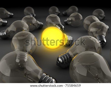 3d illustration of light bulbs crowd with one shining - stock photo