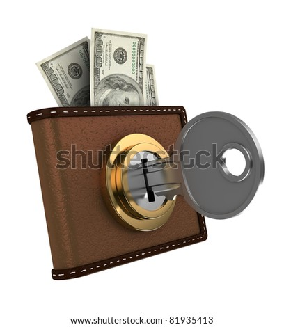 3d illustration of locked wallet with money, isolated over white - stock photo