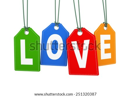 3d illustration of love word text hanging with string label tag - stock photo