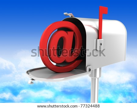 3d illustration of mailbox with email symbol inside - stock photo