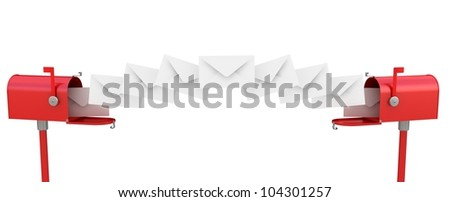 3d illustration of mailboxes with many letters - stock photo