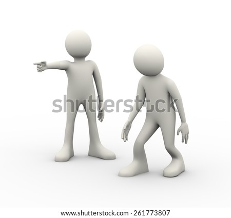 3d illustration of man being fired by his angry boss. 3d human person character and white people - stock photo
