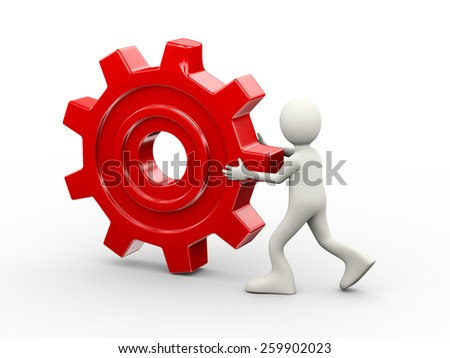 3d illustration of man carrying big red chrome metallic gear cogwheel. 3d human person character and white people - stock photo