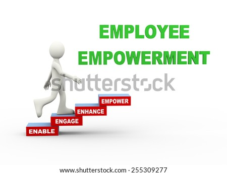 3d illustration of man climbing employee empowerment word text steps concept. 3d human person character and white people - stock photo