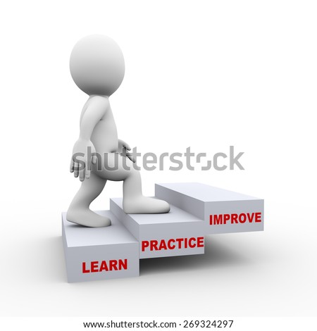 3d illustration of man climbing of learn practice improve steps stair.  3d rendering of human people character - stock photo