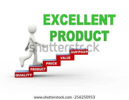 3d illustration of man climbing quality product word text steps concept. 3d human person character and white people - stock photo