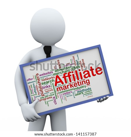 3d illustration of man holding affiliate marketing wordcloud words tags  board.  3d rendering of human people character. - stock photo