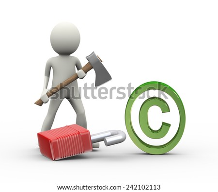 3d illustration of man holding axe and broke locked padlock. Concept of  copyright infringement.  3d human person character and white people - stock photo