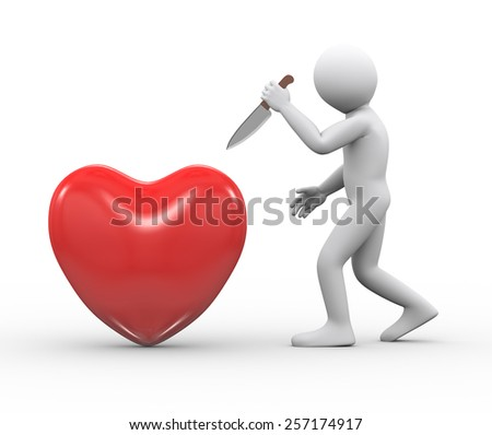 3d illustration of man holding large knife ready to attack and stab red big heart.  3d rendering of human people character - stock photo
