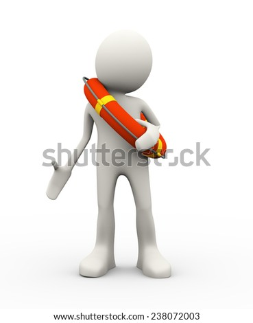 3d illustration of man holding life preserver lifebuoy ring. 3d human person character and white people - stock photo