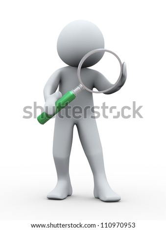 3d Illustration of man holding magnifying glass. 3d rendering of human character. - stock photo