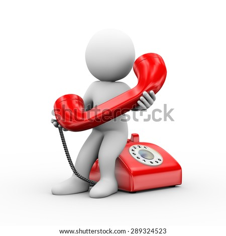 3d illustration of man holding phone handset and receiving telephone call.  3d rendering of human people character - stock photo