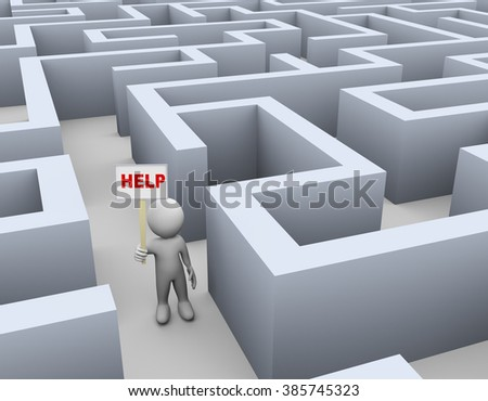 3d illustration of man holding word help banner in complicated puzzle maze. 3d rendering of human people character - stock photo