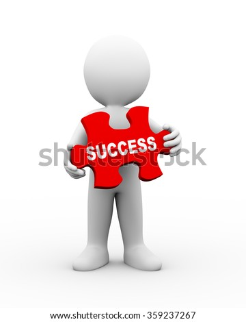 3d illustration of man holding word text of success on puzzle piece.  3d rendering of human people character - stock photo