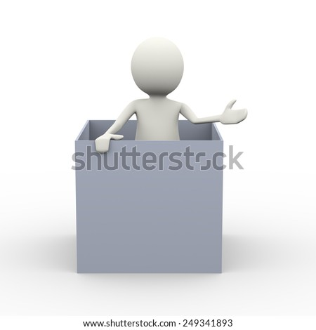 3d illustration of man inside box. 3d human person character and white people - stock photo