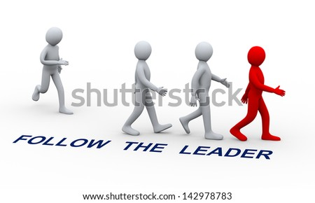 3d illustration of man joining group of people following his team leader.  3d rendering of human character and leadership and team work concept. - stock photo