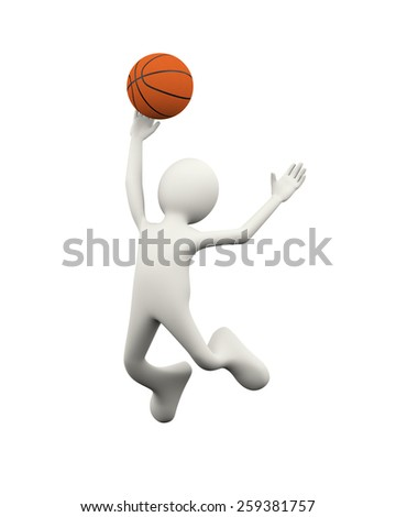 3d illustration of man jumping and playing basketball. 3d human person character and white people - stock photo