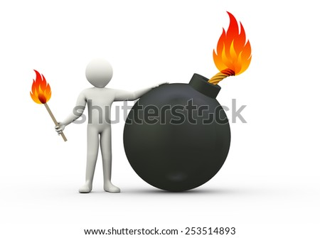 3d illustration of man lighting the bomb wick.  3d rendering of human people character - stock photo