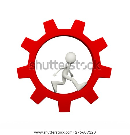 3d illustration of man running inside rotating red big chrome metallic gear cogwheel. 3d human person character and white people - stock photo