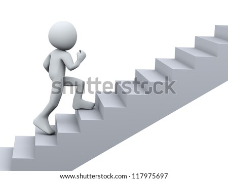 3d Illustration of man running on stair. 3d rendering of human character - stock photo