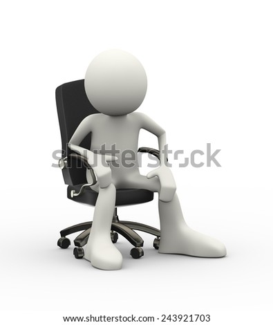 3d illustration of man seated on business chair. 3d human person character and white people - stock photo
