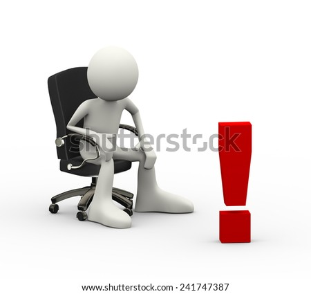 3d illustration of man seated on business chair looking at exclamation mark. 3d human person character and white people - stock photo