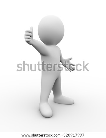 3d illustration of man showing positive thumb up.  3d rendering of human people character. - stock photo
