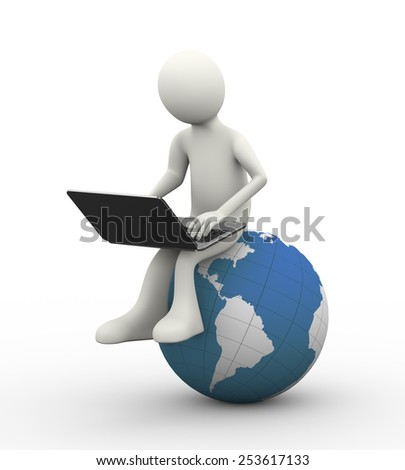 3d illustration of man sitting on world map globe working with laptop. 3d human person character and white people - stock photo