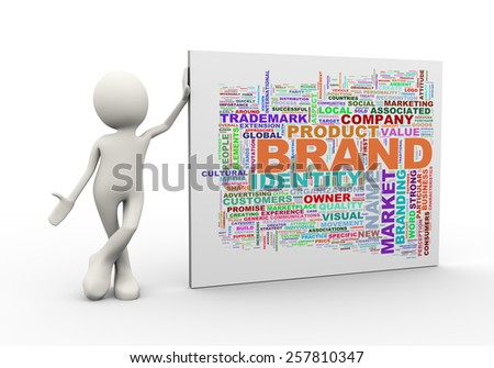 3d illustration of man standing with brand wordcloud word tags. 3d human person character and white people - stock photo