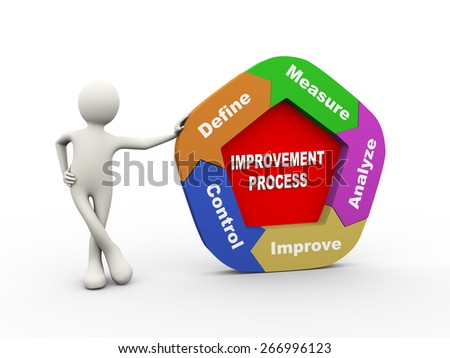 3d illustration of man standing with circular arrow chart of concept of improvement process. 3d human person character and white people - stock photo