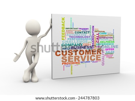 3d illustration of man standing with customer service  wordcloud word tags. 3d human person character and white people - stock photo