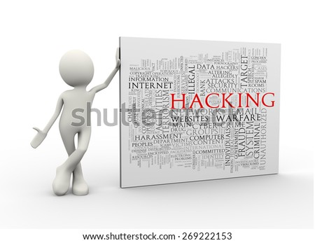 3d illustration of man standing with hacking wordcloud word tags. 3d human person character and white people - stock photo