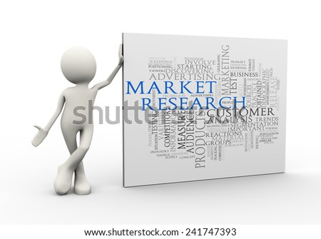 3d illustration of man standing with market research wordcloud word tags. 3d human person character and white people - stock photo