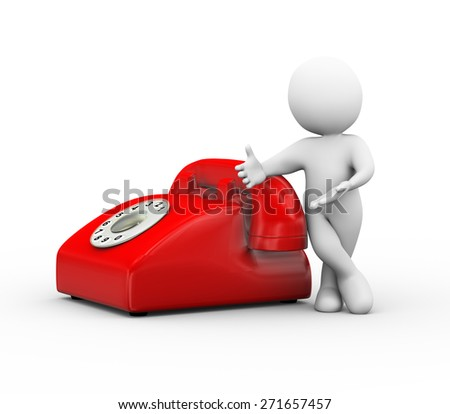 3d illustration of man standing with red rotary phone.  3d rendering of human people character and telephone - stock photo