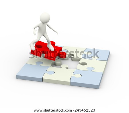 3d illustration of man surfing on red final puzzle piece to solve problem. 3d human person character and white people - stock photo